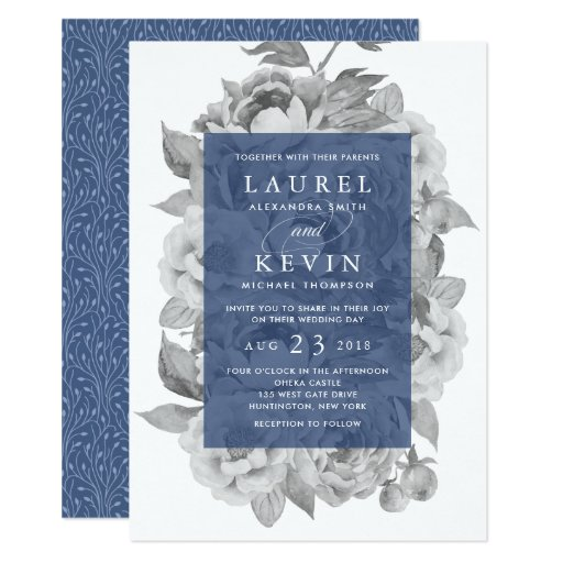 Vintage Floral Wedding Invitation Navy