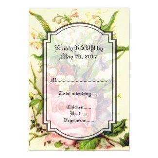 VINTAGE FLORAL WEDDING INVITATION RSVP