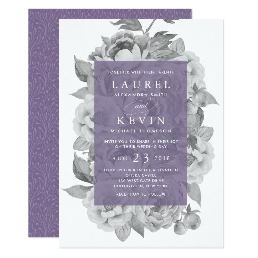 Vintage Floral Wedding Invitation Violet