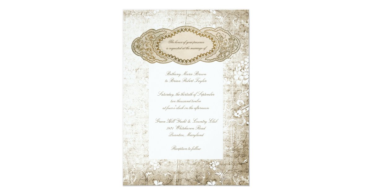 Vintage floral wedding invitations zazzle for 70 s wedding invitations