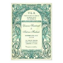 Vintage Floral Wedding Invitations Turquoise