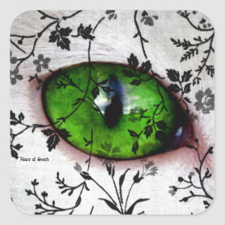 Vintage Floral Wedding Lace Eye of Cat Square Sticker