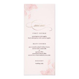 "Vintage floral | Wedding menus 4 x 9.25 4"" X 9.25"" Invitation Card"