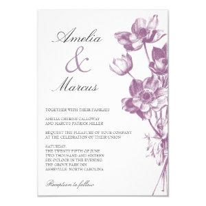 Vintage Floral Wedding Mini Invitation / White 3.5