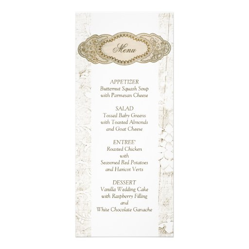 Vintage Floral Wedding Reception Menu Cards Personalized Invites