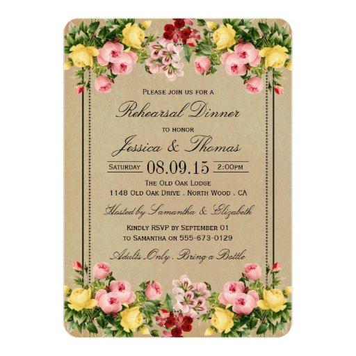 Vintage Floral Wedding Rehearsal Dinner Card