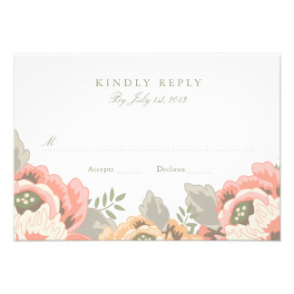 Vintage Floral Wedding RSVP Invitations