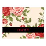 Vintage Floral Wedding RSVP Postcard Postcard