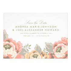 Vintage Floral Wedding Save the Date Personalized Announcements