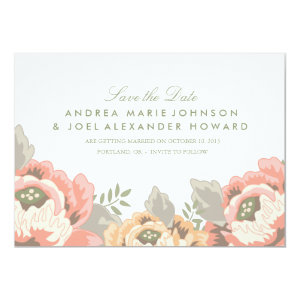 Vintage Floral Wedding Save the Date 5x7 Paper Invitation Card