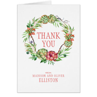 Vintage Floral Wedding Succlent | Thank You Card