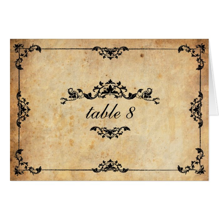 Vintage Floral Wedding Table Number Card