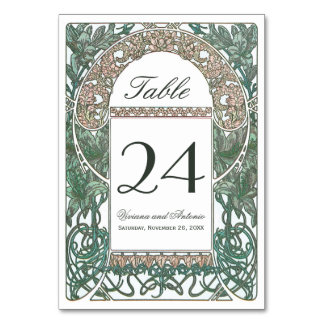 Vintage Floral Wedding Table Numbers I Table Card