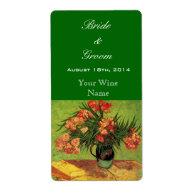Vintage floral wedding wine labels custom shipping labels