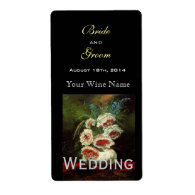 Vintage floral wedding wine labels personalized shipping label