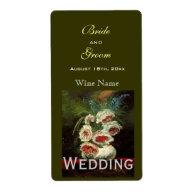 Vintage floral wedding wine labels shipping label