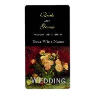 Vintage floral wedding wine labels shipping labels