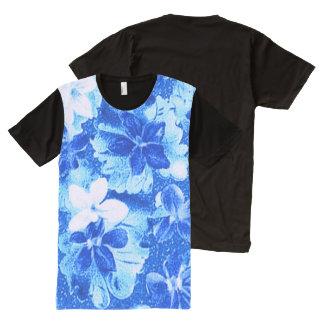 Vintage Floral White Blue Violets Flowers All-Over Print T-shirt