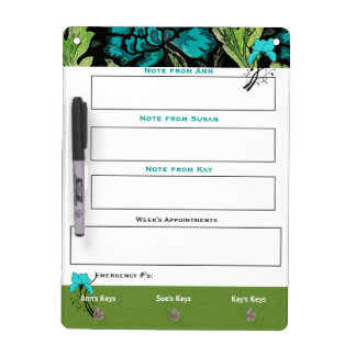 Vintage Floral White Board for Notes and Keys