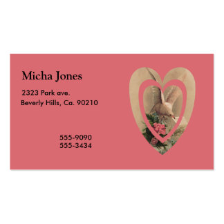 Vintage Floral White Dove With Note In Heart Business Card