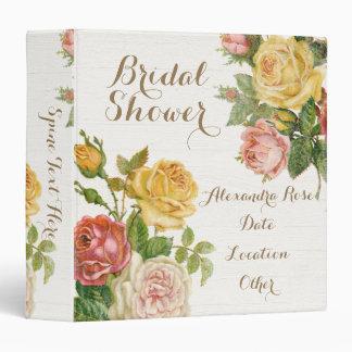 Vintage Floral Whitewash Spring Bridal Shower 3 Ring Binder