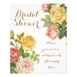 """Vintage Floral Whitewash Spring Bridal Shower 4.5"""" X 5.6"""" Flyer"""
