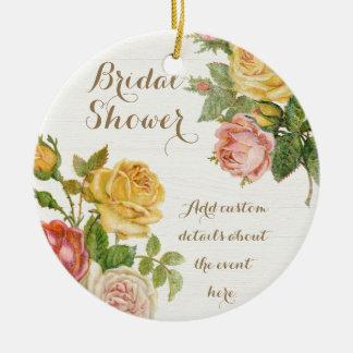 Vintage Floral Whitewash Spring Bridal Shower Ceramic Ornament