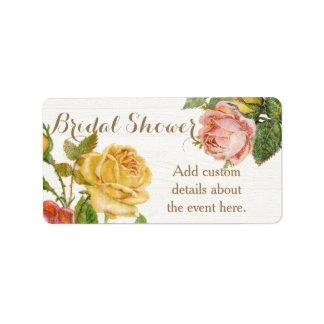 Vintage Floral Whitewash Spring Bridal Shower Address Label
