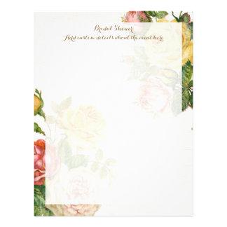 Vintage Floral Whitewash Spring Bridal Shower Letterhead