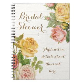 Vintage Floral Whitewash Spring Bridal Shower Notebook
