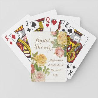 Vintage Floral Whitewash Spring Bridal Shower Card Decks