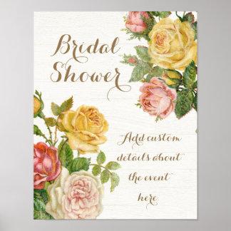 Vintage Floral Whitewash Spring Bridal Shower Poster
