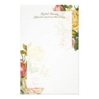 Vintage Floral Whitewash Spring Bridal Shower Stationery