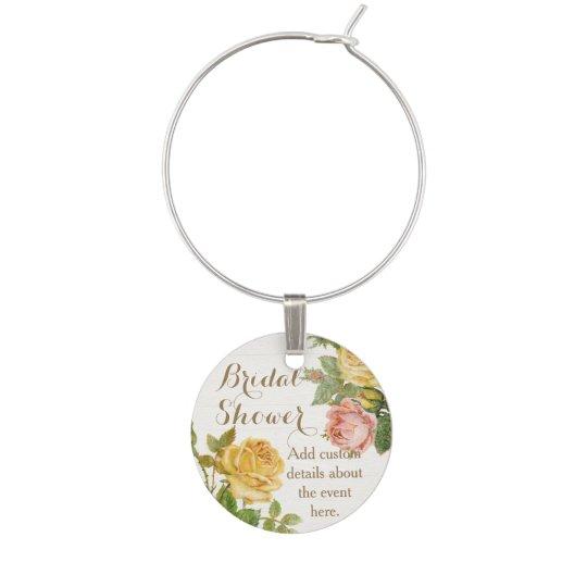 vintage floral whitewash spring bridal shower wine charm