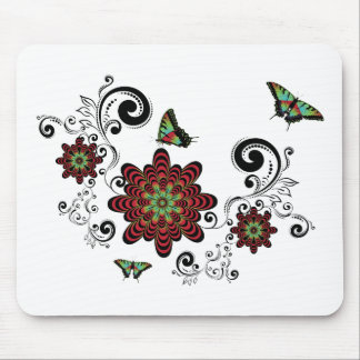 Vintage Floral with Butterflies Mouse Pad