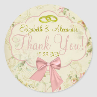 Vintage Floral With Gold Wedding Rings Classic Round Sticker