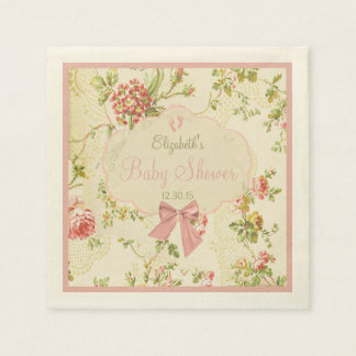 Vintage Floral with Peach Bow Baby Shower Paper Napkin