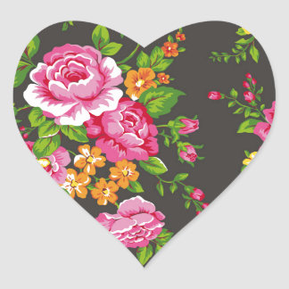 Vintage Floral with Pink Roses Heart Sticker