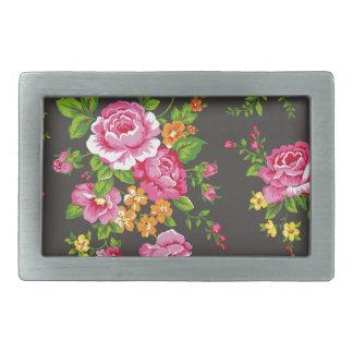 Vintage Floral with Pink Roses Rectangular Belt Buckle