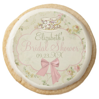 Vintage Floral With Tea Cup Round Shortbread Cookie