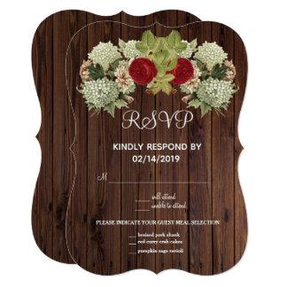 Vintage Floral Wood Look RSVP Card