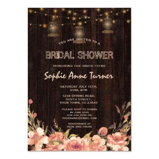 Vintage Floral Wood Old Lanterns Bridal Shower Card