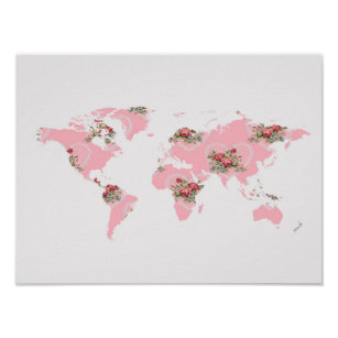 Pink world map posters zazzle vintage floral world map poster gumiabroncs Images