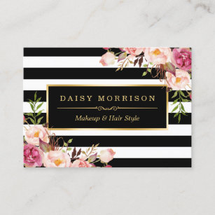 Vintage business cards templates zazzle vintage floral wrapping around black white stripes business card reheart Images