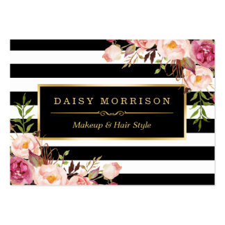 Vintage Floral Wrapping Around Black White Stripes Large Business Cards (Pack Of 100)