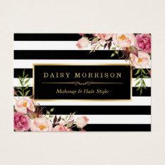 Vintage Floral Wrapping Around Black White Stripes Business Card at Zazzle