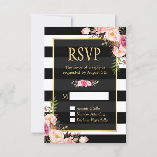Vintage Floral Wrapping B&W Stripes RSVP Reply