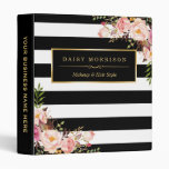 Vintage Floral Wrapping Black White Striped Design 3 Ring Binder at Zazzle