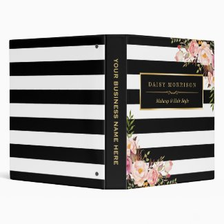 Vintage Floral Wrapping Black White Striped Design