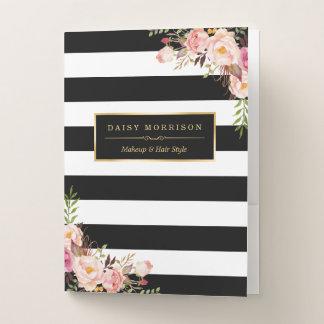 Vintage Floral Wrapping Gold Black White Striped Pocket Folder